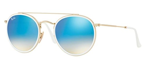 Ray-Ban 0rb3647n Non-Polarized Iridium Round Sunglasses, Gold, 51 - Sunglasses Ray Gold Ban