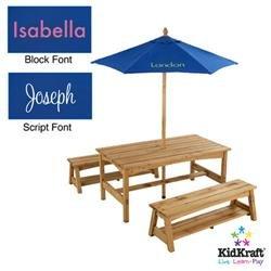 Amazing Amazon Com Kidkraft Table And Benches With Blue Umbrella Machost Co Dining Chair Design Ideas Machostcouk