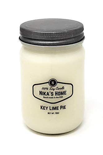 Nika's Home Key Lime Pie 12oz Mason Soy Candle
