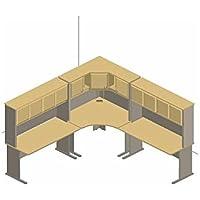 Bush Furniture Natural Cherry and Slate Advantage Series Corner Desk with Hutch