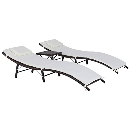 Outsunny 3 Piece Outdoor Folding Rattan Wicker Chaise Lounge Chair and Side Table Set