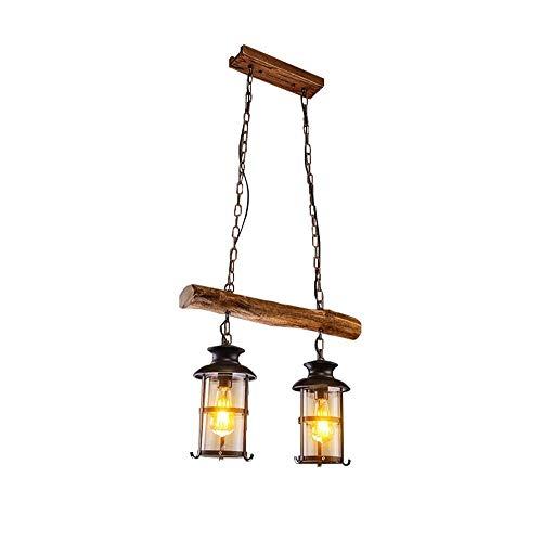 - MUTANG Retro Chandelier 2 Head Edison Attic Pendant Lamp Adjustable Height Industrial Chandelier Living Room Restaurant Wine Cellar Cafe Bar Solid Wood Kerosene Hanging Light E27