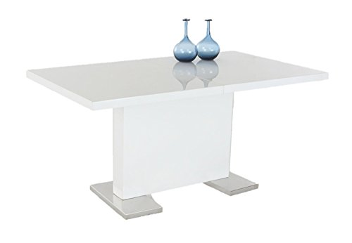 INSPIRER STUDIO IRIS Extendible Dining Table Pedestal Table MDF High-Gloss White (Modern Gloss High)