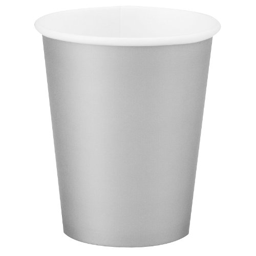 Paper Hot & Cold Cups 9oz 24/Pkg-Shimmering Silver
