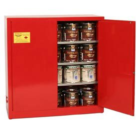 Eagle Wall Or Floor-Mount Flammable Liquids Safety Cabinet - 43x12x44'' -Manual Doors -Red by Eagle