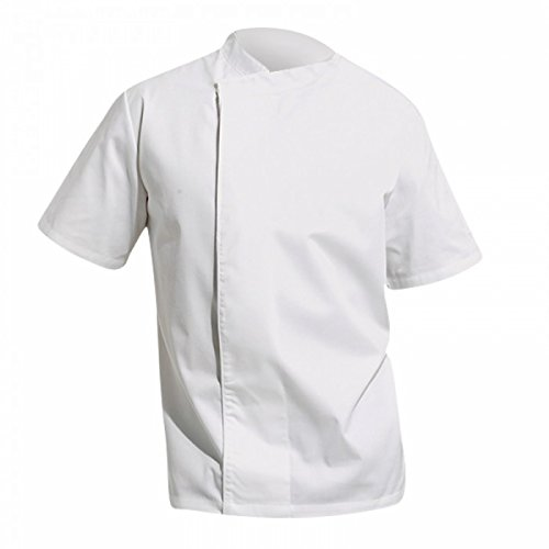 - Premier Unisex Culinary Pull-on - Chefs Short Sleeve Tunic (L (46 inch Chest)) (White)