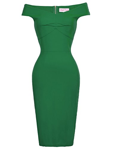 (Stretchy Comfortable Pencil Dress Sexy Body Con Night Out Dress Green M BP387-2)