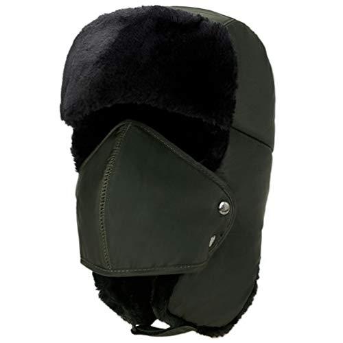 Pogah Winter-Warm-Windproof Ushanka Trapper-Russian-Trooper Ski-Mask-Hats-Cap - Unisex Fleece with Ear Flap Chin Strap Outdoor Sport (Army Green)