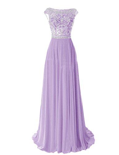 Tidetell Elegant Floor Length Bridesmaid Cap Sleeve Prom Evening Dresses Lavender Size 12