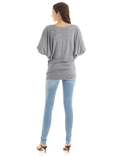 H2H Women's Loose Casual Short Sleeve Chiffon Top T-Shirt Blouse Top Gray US XL/Asia XL (CWTTS0113)