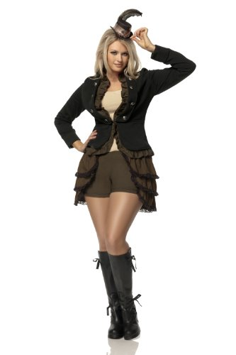 Mystery House Costumes Plus-Size Steampunk Lady Deluxe, Brown/Black/Ivory, 1X