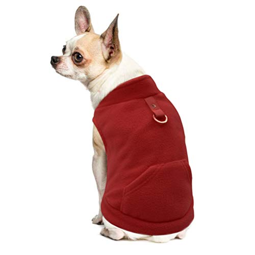 EXPAWLORER Fleece Autumn Winter Cold Weather Dog Vest Harness Clothes with Pocket, Red Extra Small