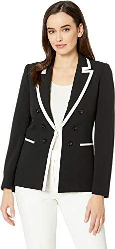 Tahari by ASL Women's Framed Faux Double Breasted Crepe Jacket Black/Ivory 6