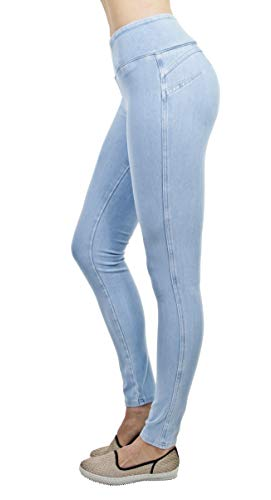 Shaping Pull On Butt Lift Push Up Yoga Pants Stretch Indigo Denim Skinny Jeans in Indigo Ice Size L ()
