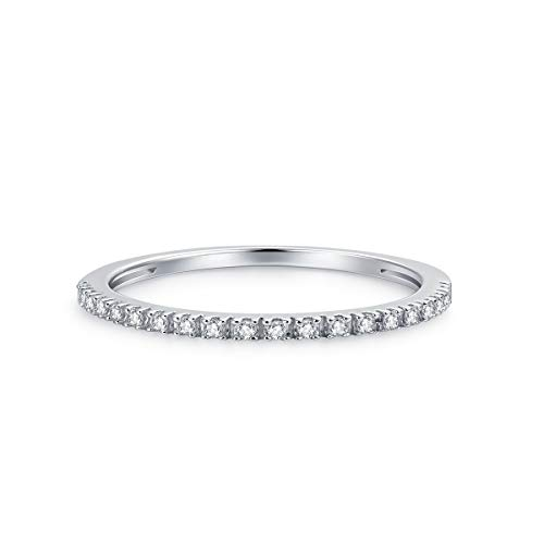 1.5mm Rhodium Plated Sterling Silver Riviera Petite Micropave Cubic Zirconia CZ Half Eternity Ring (6.5)