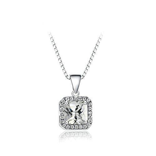 Epinki Platinum Plated Womens Girls Pendant Necklace Exquisite Square Zirconia White Gold
