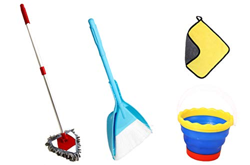 Qidiwin Kids Cleaning Set for Boys&Girls' Gift, The Toddler Cleaning Set Including Mop,Broom,Dustpan,Towel,Bucket ()