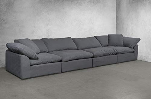 Sunset Trading SU-1458-94-2C-2A Cloud Puff 4 Piece Modular Performance Gray Sectional Slipcovered Sofa, Grey