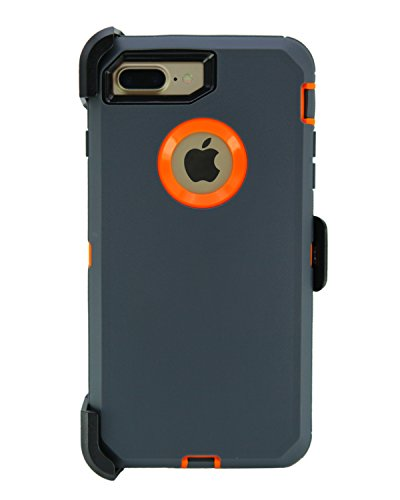 WallSkiN 1227jnnkkk Turtle Series Cases for iPhone 7 Plus/iPhone 8 Plus (Only) Full Body Protection with Kickstand & Holster - Charcoal (Dark Grey/Orange)