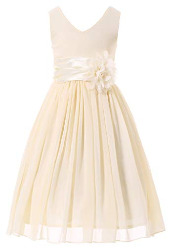 Bow Dream Flower Girl Dress Junior Bridesmaids V-Neckline Chiffon Cream Ivory 10 -