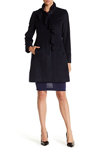 DKNY Ruffle Front Walking Coat Deep ()