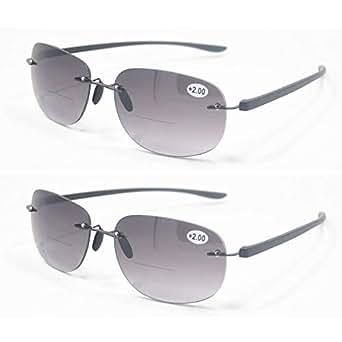 Qi Song Lightweight Rimless Bifocal Reading Glasses Men Women Reader Sunglasses+1.0+1.5+2.0+2.5+3.0+3.5 (2 Pairs Valuepack, 1.0)