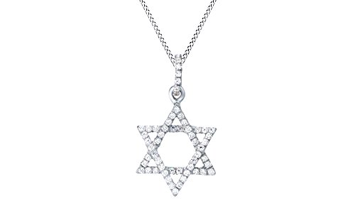 Jewel Zone US Hanukkah Holy Day Sale White Natural Diamond Star David Pendant Necklace in 14k White Gold Over Sterling Silver (1/6 Ct)