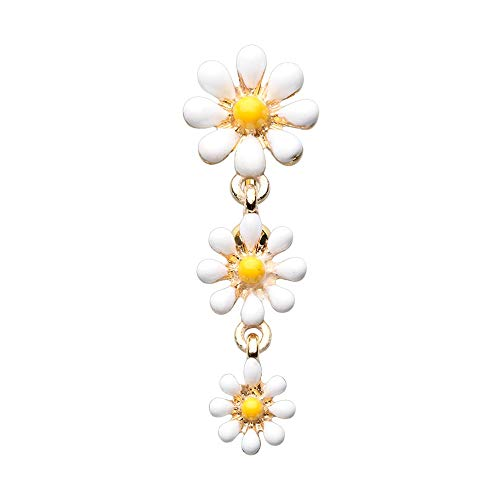 - 14 GA Golden Reversible One Daisy at a Time Belly Button Ring 316L Surgical Stainless Steel Body Piercing Jewelry For Men and Women Davana Enterprises