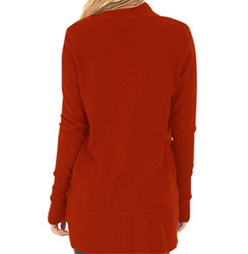 cardigan cardigan donna maglione Red Cappotto in da Brick Brick Brick casual maglia pwPnqxn7U