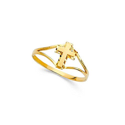14k Diamond Cut Crucifix - Infant Baby Kids Cross Crucifix Diamond Cut Ring 14k Yellow Gold Polished Religious Kids Jewelry, Size 3
