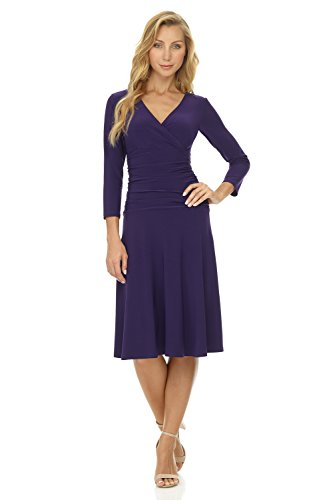 Rekucci Women's Slimming 3/4 Sleeve Fit-and-Flare Crossover Tummy Control Dress (14,Aubergine)