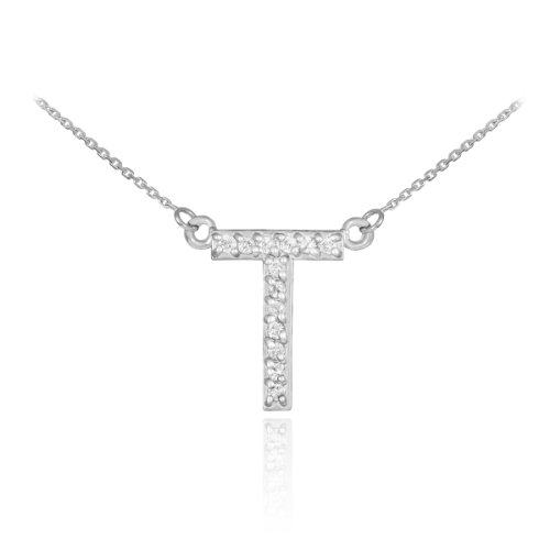14k White Gold Diamond Letter T Initial Pendant Necklace, ()