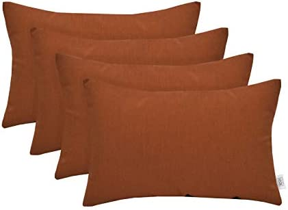 RSH D cor Set of 4 Indoor Outdoor Decorative Rectangle Lumbar Throw Pillows Sunbrella Canvas Rust 20 x 12
