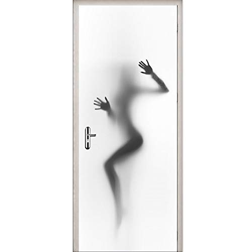 YJZ 3D Door Wall Mural Wallpaper Stickers Sexy Beauty Lady Shadow In Bathroom Door Self-Adhesive Vinyl Removable Waterproof Art Door Decals 30.3X78.7