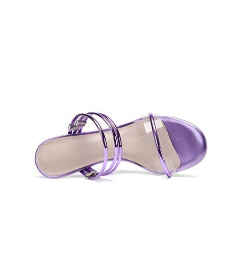 E Con Nuovi Alto Estate Con Di Tacco Puro Colore Sandali E Femminili YXLONG Americani Cristallo Pendenza Trasparente Sandali Purple Con Pantaloncini Europei Femminile Con zwqTSnf