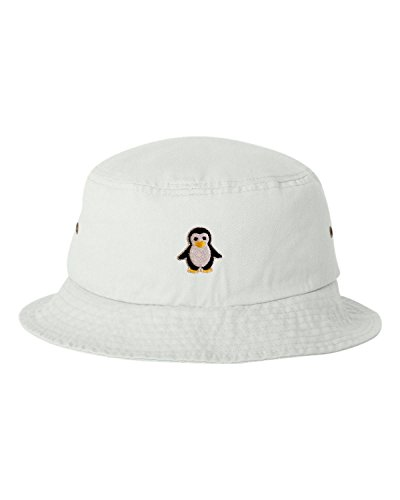Go All Out One Size White Adult Penguin Embroidered Bucket Cap Dad Hat