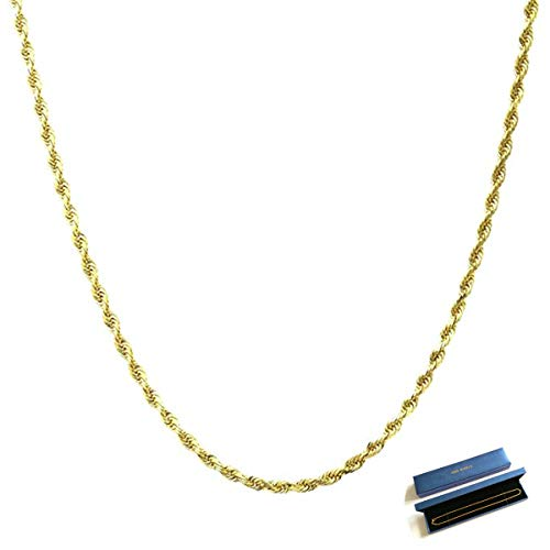 Q&S Jewels 2MM Diamond Cut Twist Rope Chain Necklace, 18K Gold Plated Stainless Steel Chain Necklace Links for Men Women, Fashion Jewelry, Wear Alone or with Pendant, ()