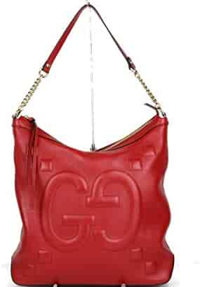 665991285fef Gucci Women's Red Leather Embossed Apollo Hobo Chain Shoulder Bag 453562  6433