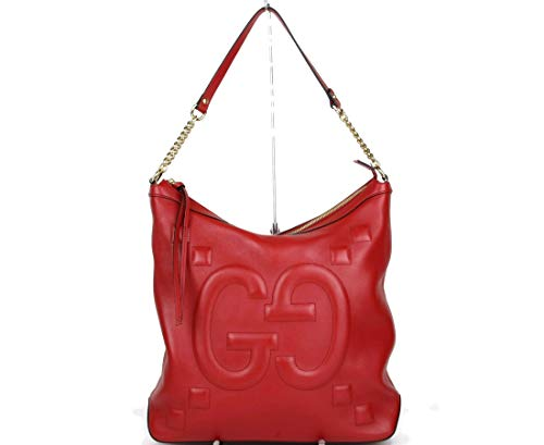 (Gucci Women's Red Leather Embossed Apollo Hobo Chain Shoulder Bag 453562 6433)
