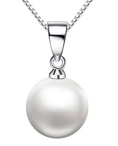WoWen The new fashion genuine 925 silver AAAA level 10mm shell pearl pendant necklace silver jewelry (Walmart Gold Necklace)