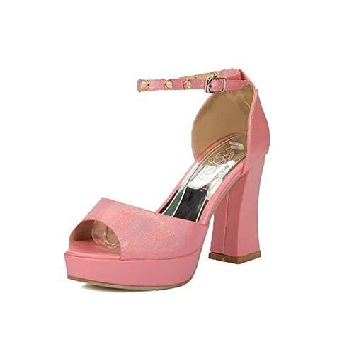 de Verde Verano Zapatos Red Confort Tacones Poliuretano Negro Grueso PU Mujer Rojo Tacón ZHZNVX q4wcd65Fq
