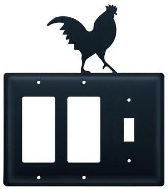 EGGS-1 Rooster Double GFI & Switch Electric Cover
