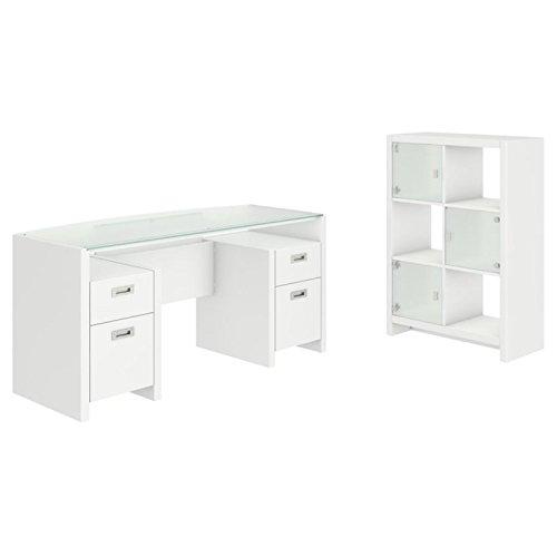 Kathy Ireland Modern Desk (Kathy Ireland by Bush New York Skyline 2 Piece Set in White )