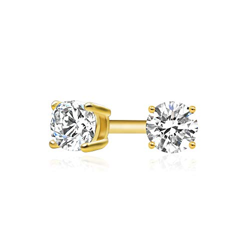 14k Yellow Gold Plated 925 Sterling Silver Cubic Zirconia Classic Basket Prong Set Eternity Stud Earrings, 2mm