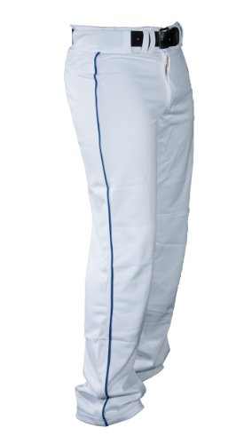 Louisville Slugger Men's Slugger All-American Relax-Fit Open Bottom Pant, White/Royal Piping, - Pants Baseball Baggy