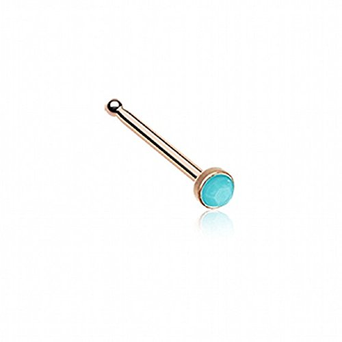 Rose Gold Turquoise Stone Nose Stud Ring