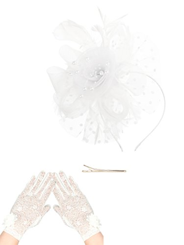 Fascinators Hat for Women Tea Party Headband Kentucky Derby Wedding Cocktail Flower Mesh Feathers Hair Clip (1-White Set)]()