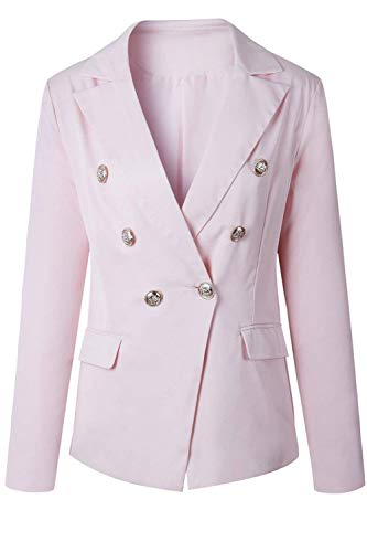 Breasted Double Confortevole Outwear Lunga Tailleur Donna Giovane Pink Colore Outerwear Manica Autunno Da Slim Giacca Suit Puro Fit Bavero Business Leisure qvUSwxzf1
