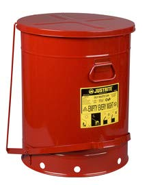 Justrite 21 Gallon Red Galvanized Steel Oily Waste Can with Foot Lever Opening Device