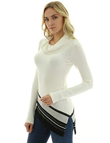 (PattyBoutik Women Cowl Neck Asymmetrical Hem Sweater (Ivory Medium))